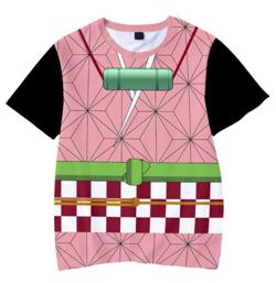 【鬼滅の刃】竈門 禰豆子(かまど ねずこ)・キッズTシャツ(ピンク・帯柄)